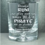 Pirate design glass tumbler, PERSONALISED, ref PBWG